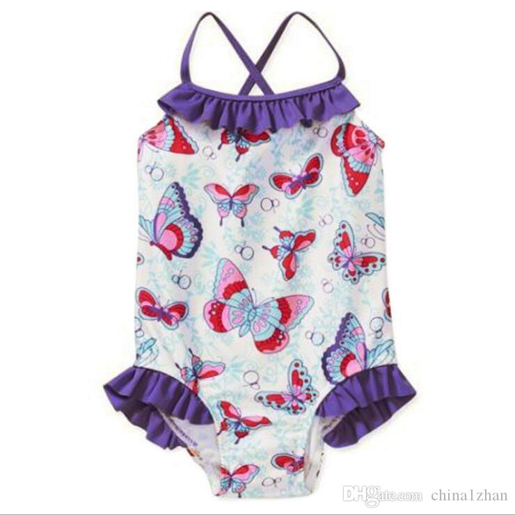 8941f8fe089f6 2019 Ins Baby Swimsuits Butterfly Printed One Piece Girl Swimsuit Off  Shoulder Swim Dress Sleeveless Swimwear Kids Clothing YW426 From  China1zhan, ...