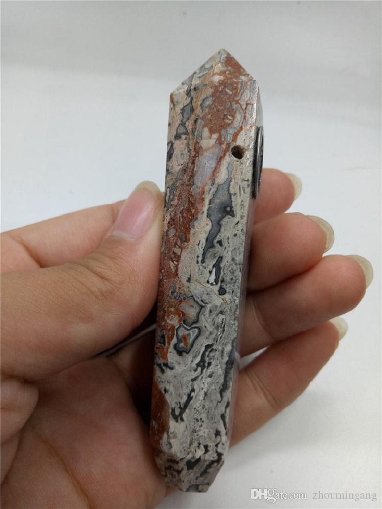 beautiful pietersite natual crystal quartz peter stones handmade healing smoking pipe metal filter screen for birthday gift