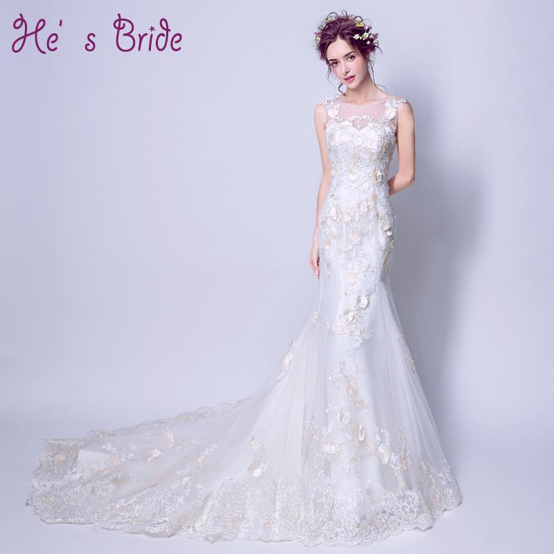 2017 New Arrival White Scoop Neck Embriodery Mermaid Lace Up Back Wedding Dress Modern Elegant Court Train Wedding Dress