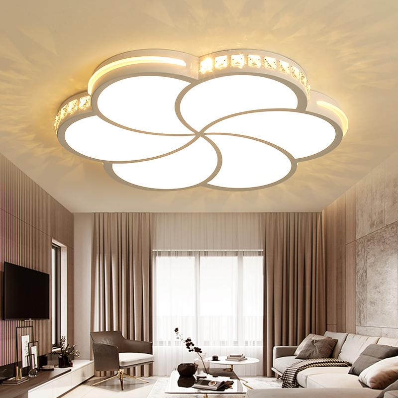 In Modern Led Crystal Ceiling Lights Remote Dimming Flat Panel Lamp Living Room Bedroom Lights Indoor Home Fixtures Free Shipping Excellent Quality