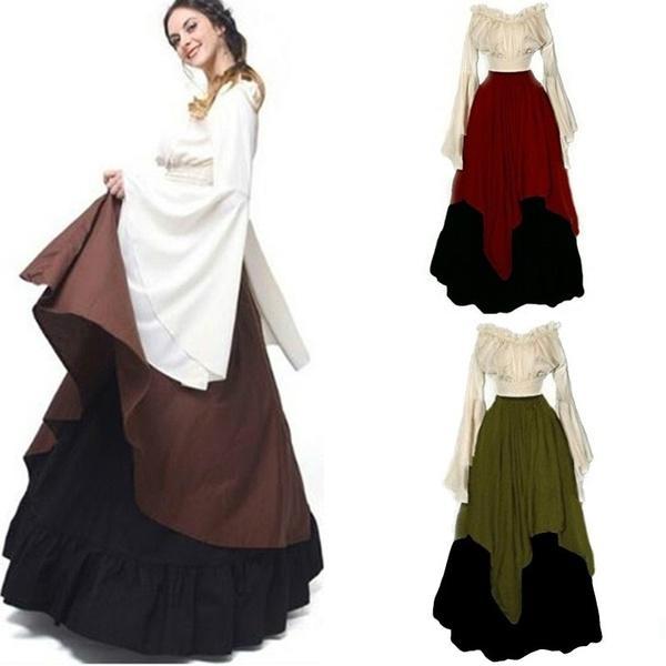 Women Medieval Dress Renaissance Red Vintage Style Off Shoulder ...