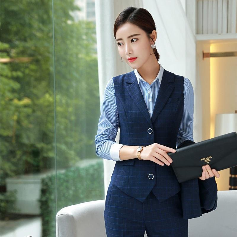 c71cc01f6ec9 2019 Formal Ladies Navy Blue Vest Women Waistcoat Work Wear Business  Clothes OL Styles From Dreamcloth