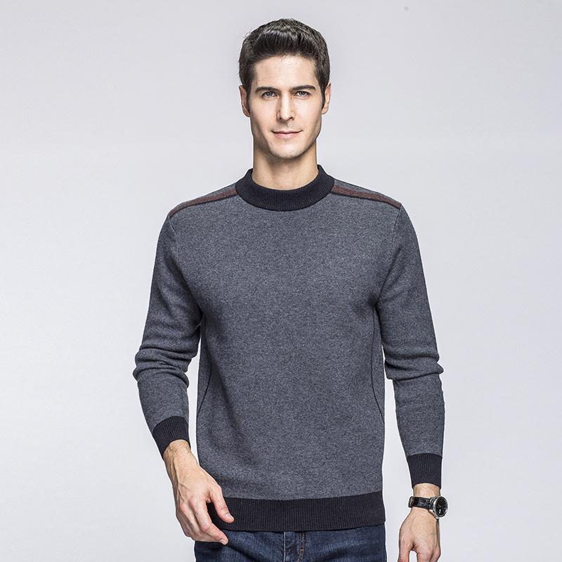 Compre Alta Calidad 100% Suéter De Lana Para Hombre De Negocios Sueter  Hombre Gris Jersey Para Hombre Casual Chompas Para Hombre Moda Erkek Kazajo  A  106.64 ... 4976cf50f6cf