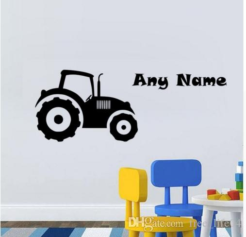 Removable Vinyl Art Wall Sticker Customize Name Waterproof Tractor ...