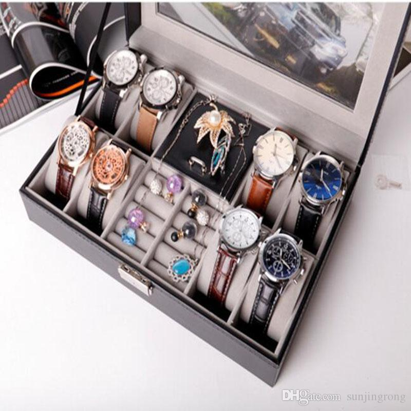 Muti Functinal retrangle Watch Jewel Boxes Black Leatherette Pattern Earring Watch Case Best Gifts for Mother day