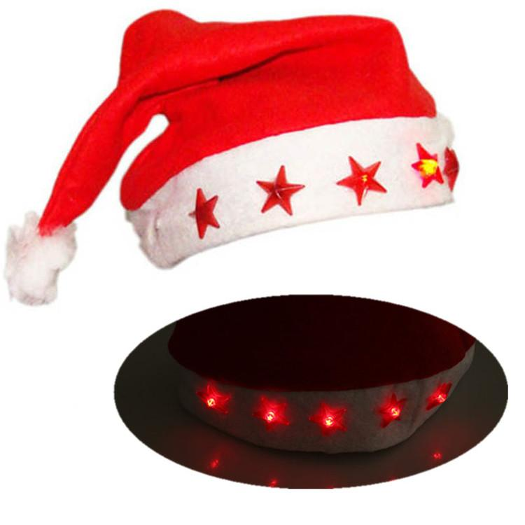 LED Christmas Hat Beanie Xmas Party Hat Glowing Luminous Led Red Flashing Star Santa Hat For Adult 100pcs T1I901
