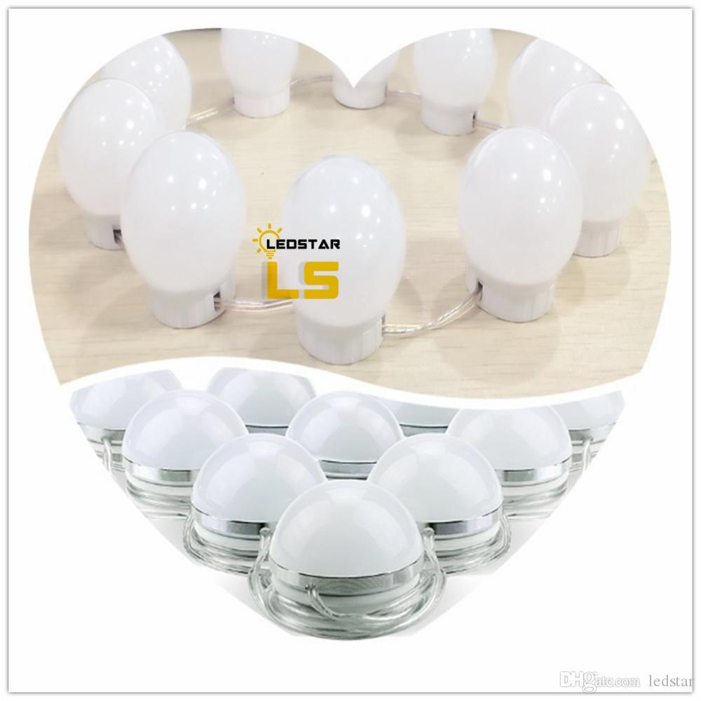 LED Vanity Ayna Işıkları Kiti Tarzı Makyaj Aynası Işıkları ile 10 Led Ampuller Fikstürü Şerit Makyaj Vanity Masa Seti + Dimmer + Güç Kaynağı