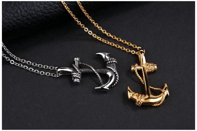 Fvermecky Mode Beliebte Gliederkette Anker Anhänger Shiny Gold Persönlichkeit Halsketten Anhänger Für Frauen Männer Schmuck BMTN 0084