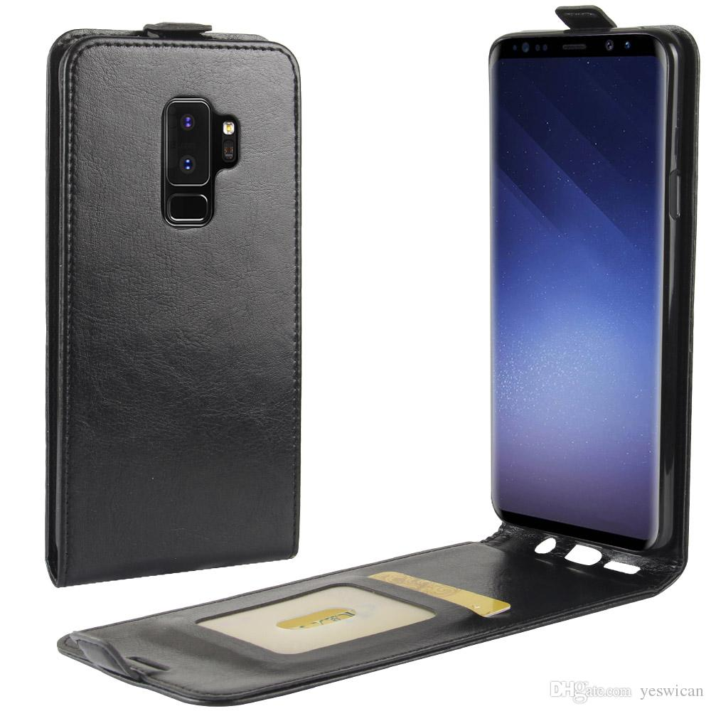 huge selection of 89da3 9c5c1 For Samsung Galaxy S9 Plus Up Down Leather Flip Case TPU Back Cover Samsung  S9 Wallet Cases With Card Slots Pocket