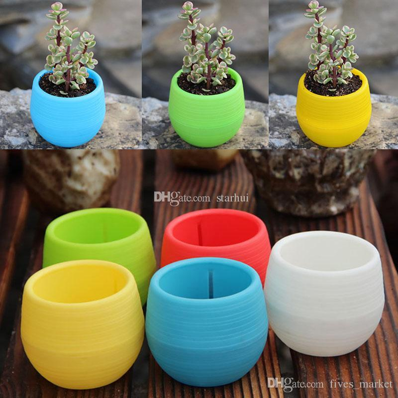 2018 New Plastic Mini Plant Flower Pot Home Garden Office Decor Fioriere Facile da trasportare Patio Garden Forniture WX9-176