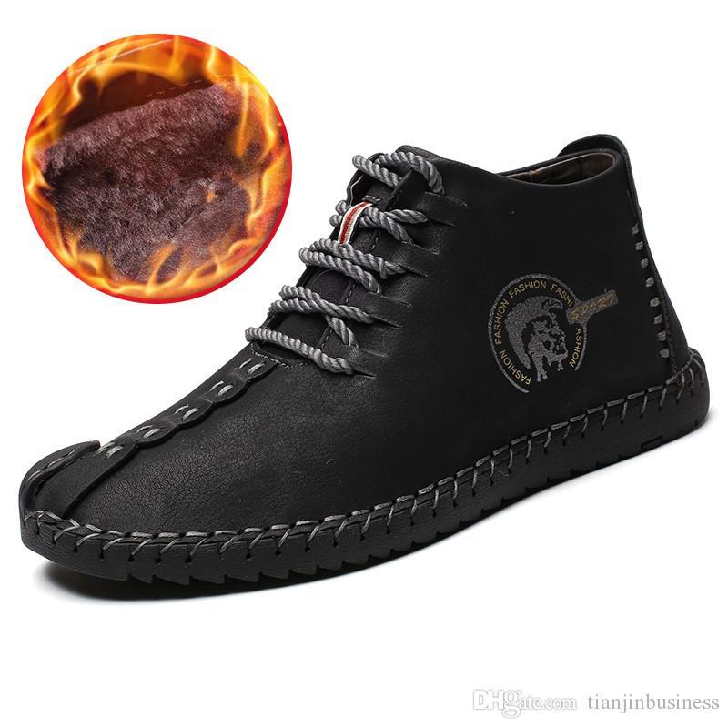 d016de7088 Compre Botas Masculinas Trabalhando Botas Táticas Couro Dividido Tornozelo  Botas De Neve Sapatos De Condução Quente Pele De Pelúcia Lace Up Sapatos De  ...