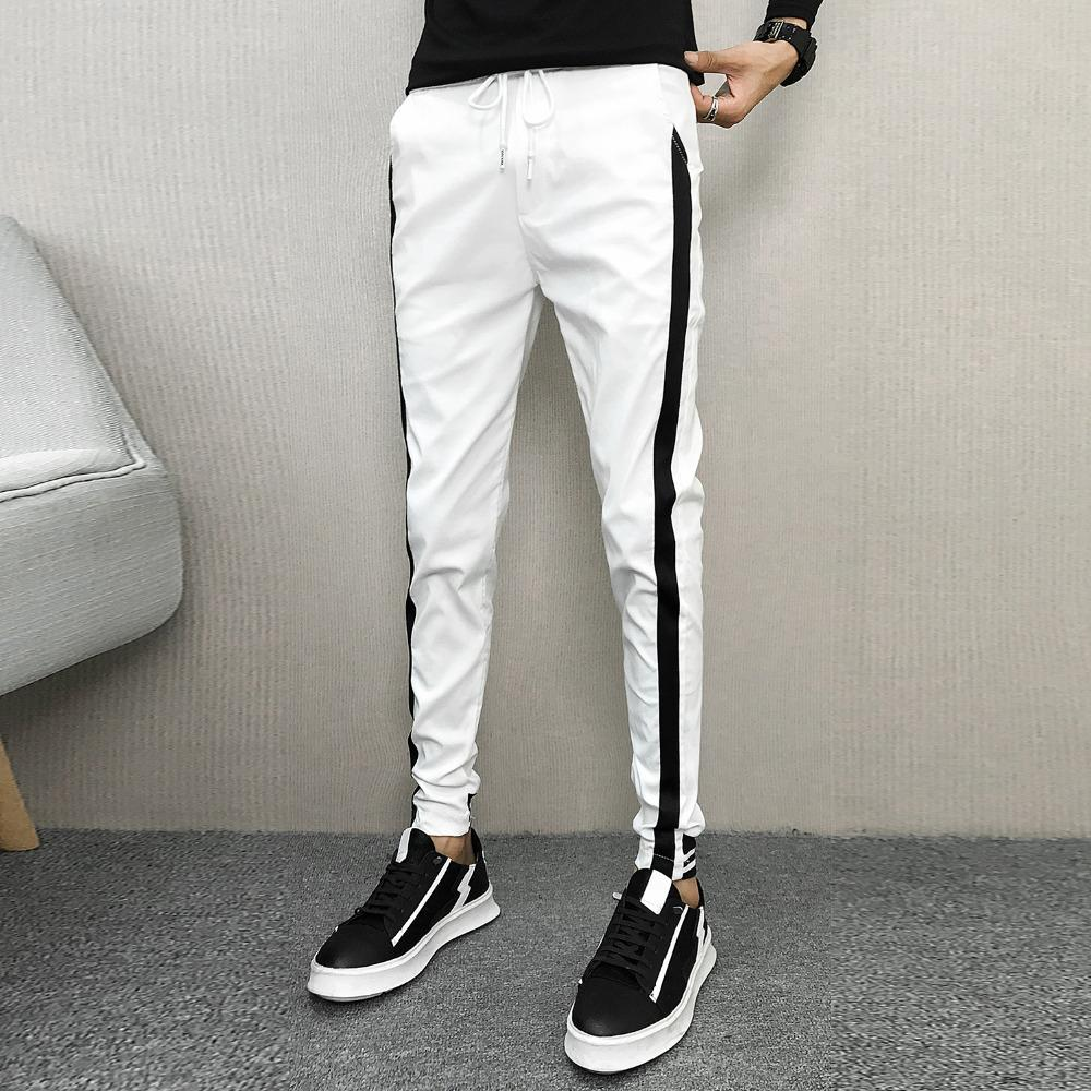 Compre Pantalones Coreanos De Otoño Marca Side Stripe Slim Fit Joggers  Venta Caliente Casual Harem Pant Hip Hop Streetwear Hombres Ropa 2018  C18111401 A ... fd1b2e0fb9ea