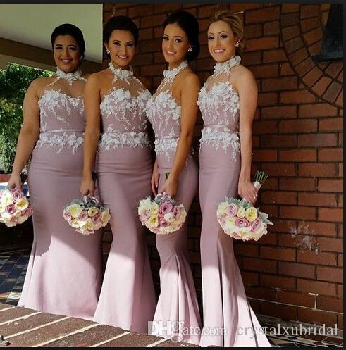Vestidos 2018 New Cheap Bridesmaid Dresses Halter Lace With Flowers Mermaid Long Floor Length Wedding Guest Wear Maid of Honor Formal Gowns