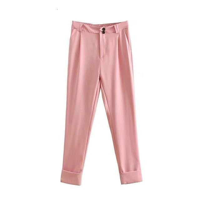 Women pink pants trousers elegant vintage fashion button ladies business suit pants