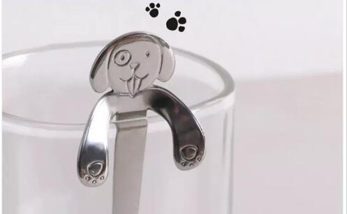 304 Cucharas de Perro de Dibujos Animados de Acero Inoxidable Creativo Helado Postre Perro Lindo Taza de Café Taza de Té Cuchara Colgante