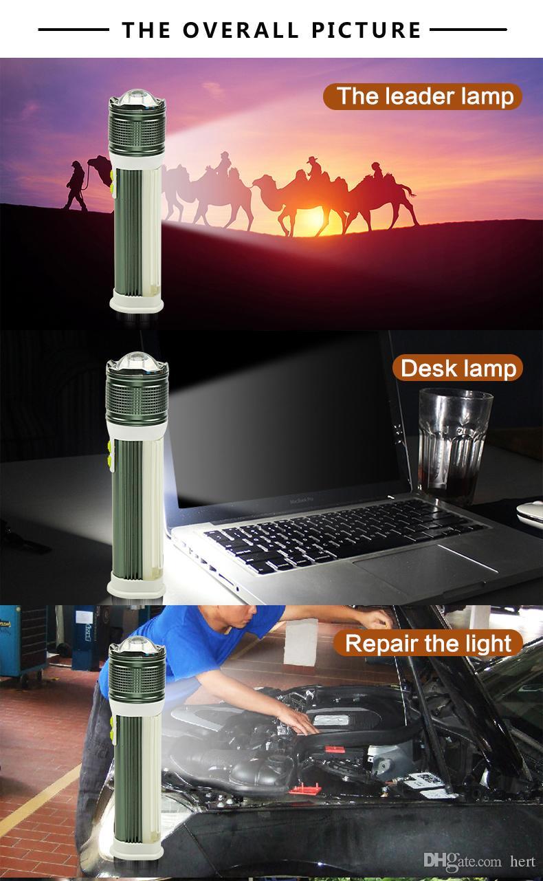 Multifunktions-Taschenlampe T6 + COB vier Modi Lanterna Zoomable aufgeladenen Lithium-Batterie tragbare Stromversorgung für Ladegerät Taschenlampe für Camp