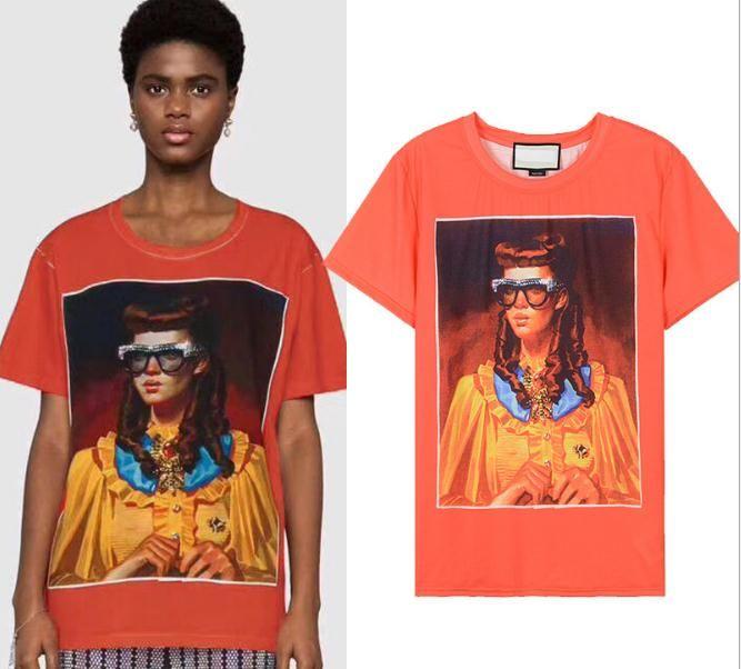 2018 Naranja Mangas cortas Impresión de dibujos animados Camisetas de las mujeres de la marca del mismo estilo Glass Girls Imprimir Camisetas Mujeres M0086