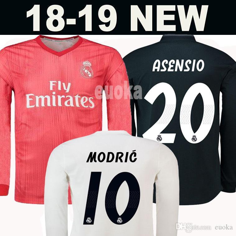 ce7d13f61 2019 Real Madrid Long Full Sleeve Home Soccer Jersey 18 19 Real Madrid Away Soccer  Shirt MODRIC BALE ASENSIO MARIANO Third Red Football Uniforms From Euoka
