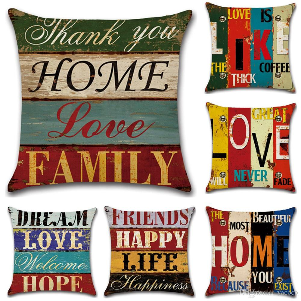 6 Styles Household 45*45cm Retro Handwriting Pattern Linen Cushion Covers  Bedroom Seat Christmas Gifts Home Decor Party Decoration Furniture Cushions  ...