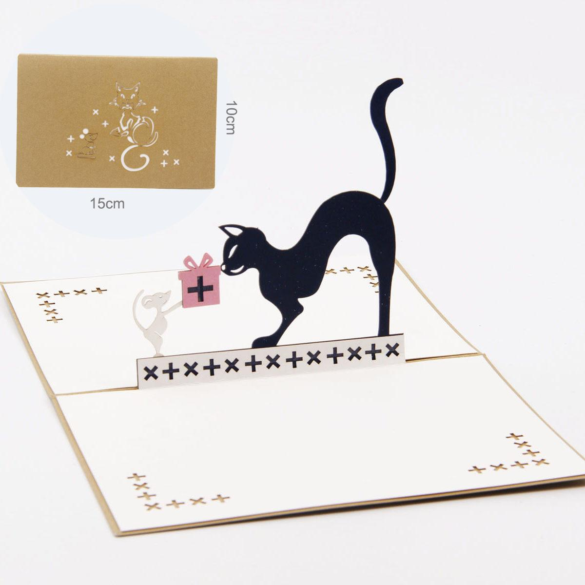 3D Pop Up Cat And Mouse Animal Birthday Greeting Card Christmas Invitation Postcard Cartoon ChildrenS Day Kids Gift AAA926 Flower Cards Free