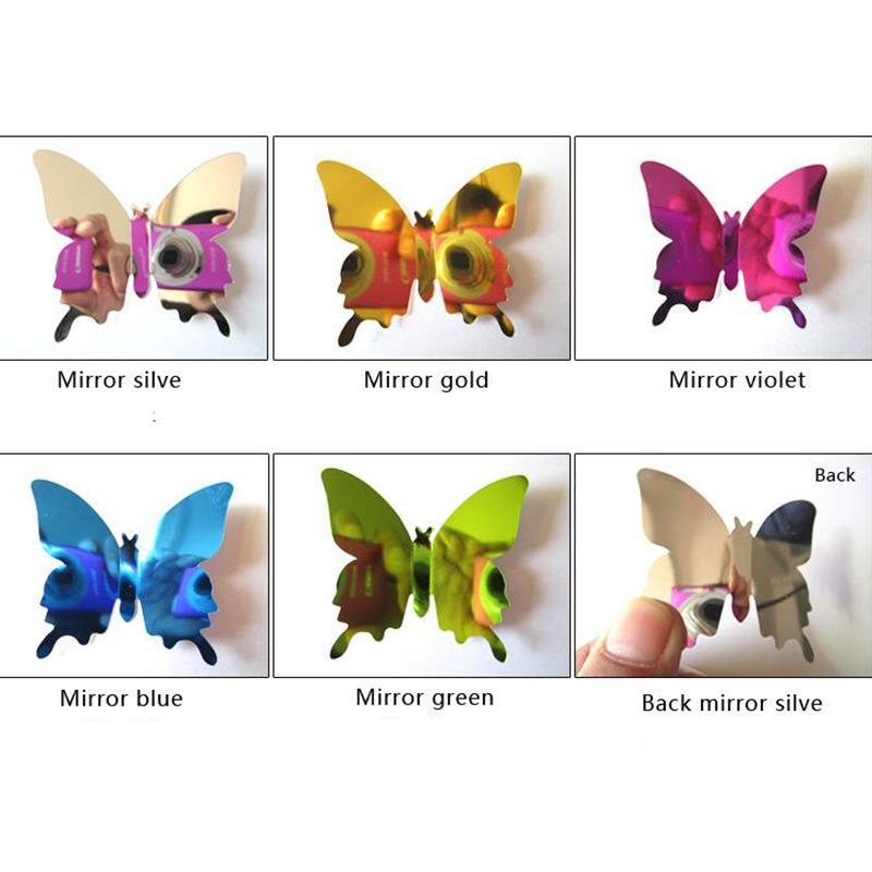 3D Butterflies Sticker Mirror Sliver Party Wedding Decor Home Decoration Removable Decal Vinyl Art Mural Wall Sticker