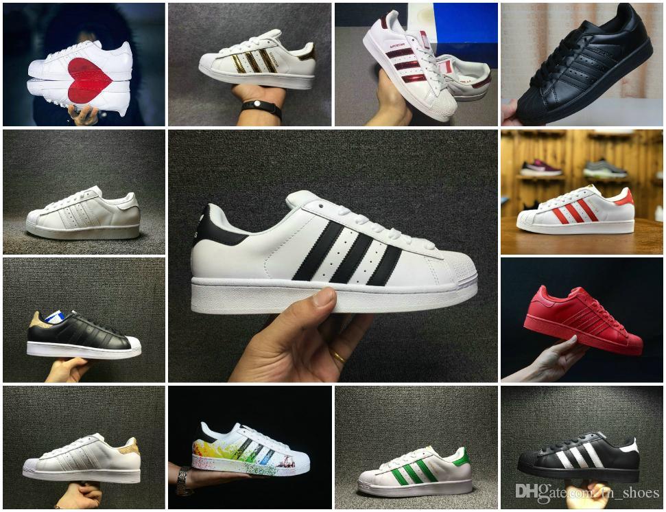 ae2b7aff182fe6 Großhandel 2018 New Originals Superstars Schuhe Schwarz Weiß Gold Hologram  Junior Superstars 80er Jahre Pride Sneakers Super Star Günstige Frauen  Männer ...