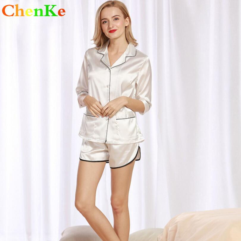 75ee7abdcb ChenKe Luxury Pajamas Sets Short Sleeve Silk Pajamas Sets With Two Pockets  Two Pieces Women Sleepwear Sexy Women Pajama Sets Cheap Pajama Sets ChenKe  Luxury ...
