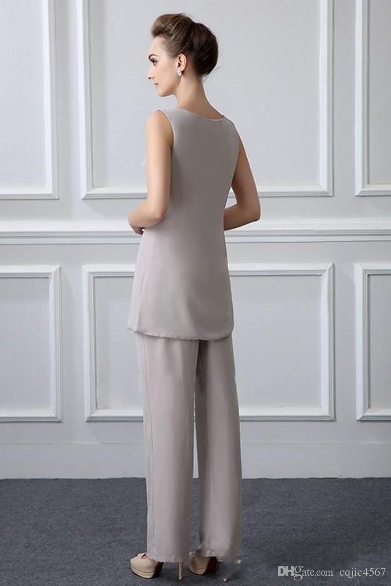2018 Yeni 3 Parça Artı Boyutu Zarif Gri Şifon anne Gelin Pantolon Takım Elbise Uzun Için Jactet Ile Güz Vestido De Noiva 588