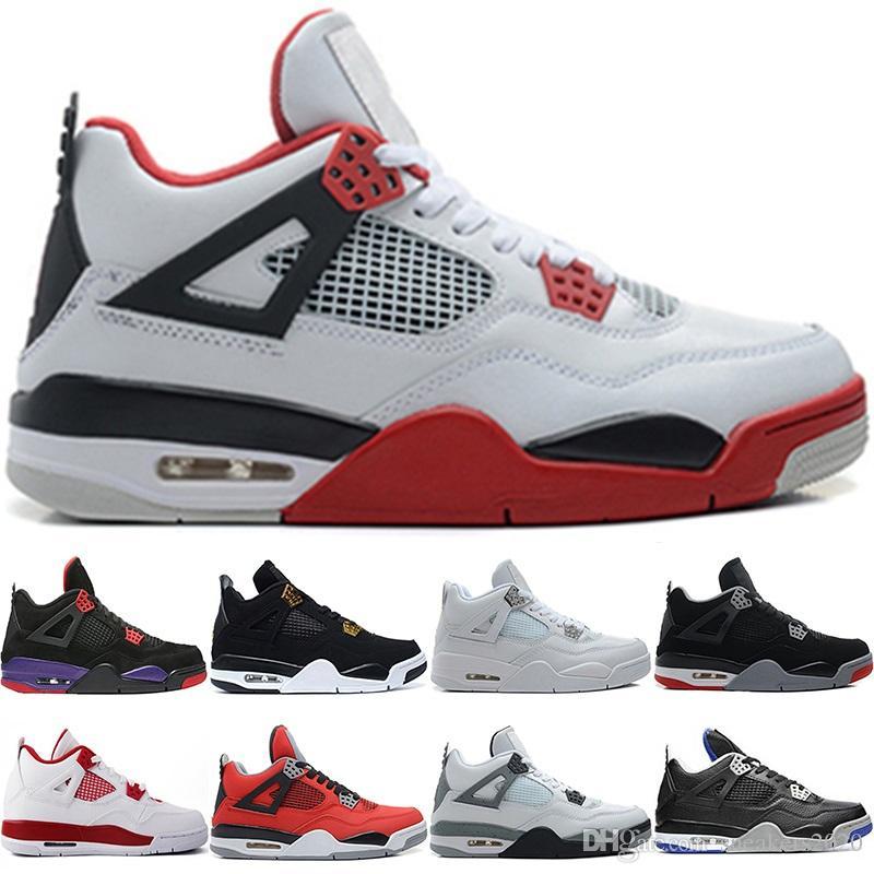 f4fb19c0dc4 Nike Air Jordan Retro Sneaker 4 4s Hombres Baloncesto Zapatillas Raptors  Pure Money Realeza Gato Negro Cemento Blanco Bred Red Diseñador  Entrenadores ...