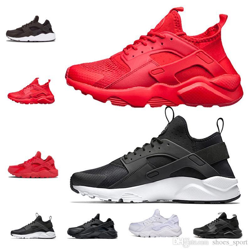 new product 599d8 2ba9b 2018 Huarache 1.0 4.0 Running Shoes For Women Men, White Triple Black  Huaraches Sports Sneakers Trainers Huraches Shoe