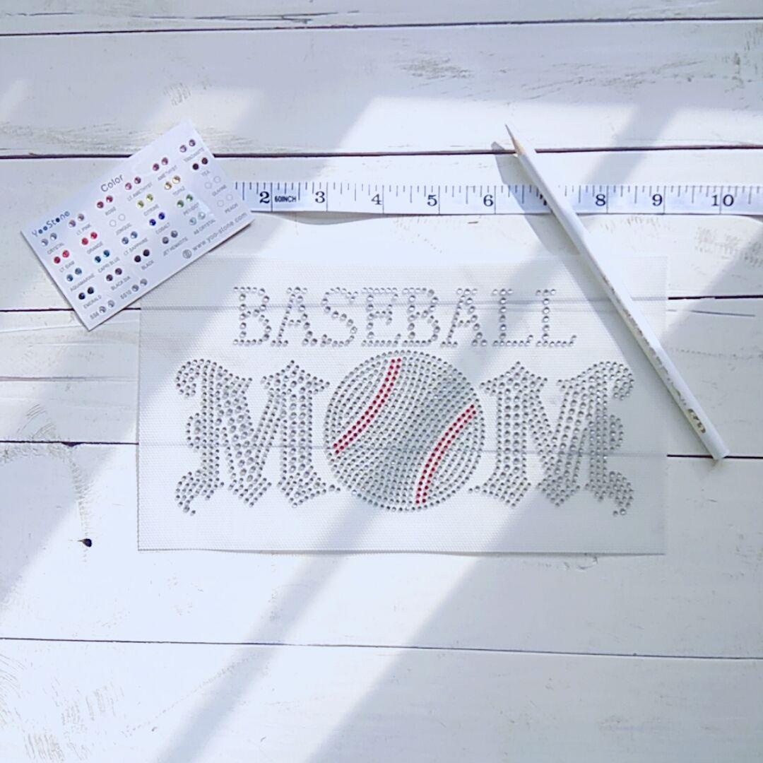 High Quality Baseball Mom Rhinestone Transfer Iron On Hot Fix Applique New  Style