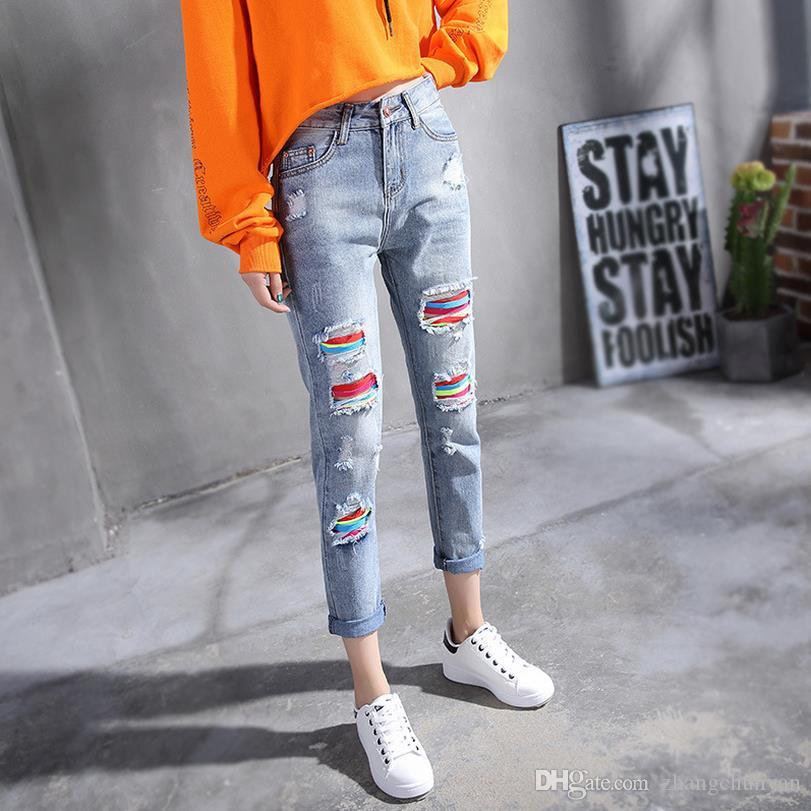5f9208becf4 Big holes rainbow sexy jeans for women new arrivals spring and summer  skinny denim jeans elastic waist trousers female bottom clothes