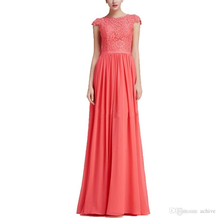 3f65da44bcefb0 Großhandel Fashion Einfache Spitze Coral Abendkleider Günstige Chiffon Cap  Sleeves Lange Prom Kleider 2018 Frauen Party Kleider Online Formale Kleid  Von ...