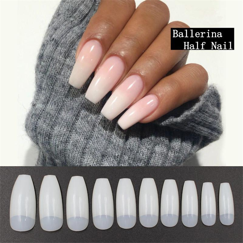 Hot Sell Professional Nature False Nails Long Ballerina Half French ...