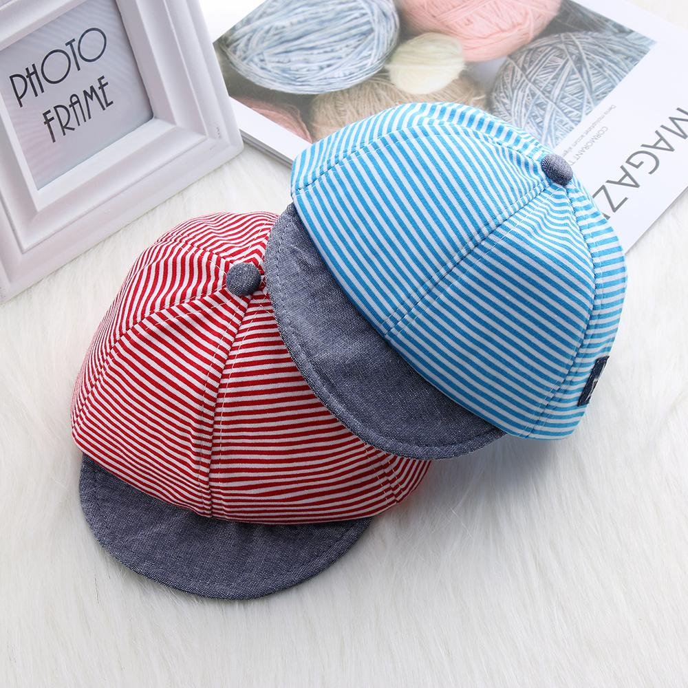 a3bab057ae2d74 Toddler Baby Boy Summer Hats Striped Soft Cotton Eaves Baseball Snapback Cap  Striped Sun Hat Beret Sunhat Suit For 0 2Y Make Your Own Hat Basecaps From  ...