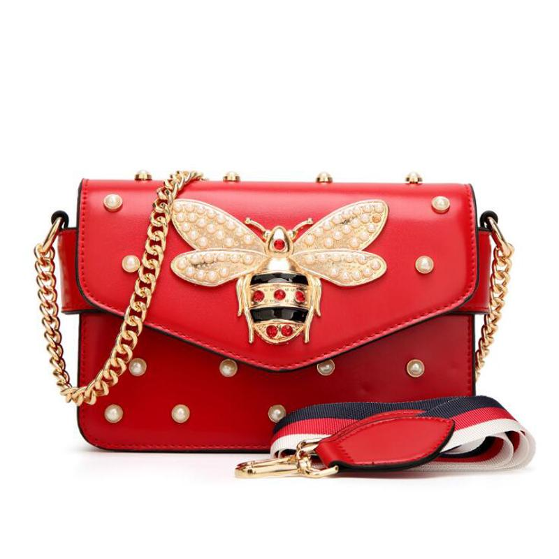 New famous brand women messenger bags small chain crossbody bags female luxury shoulder bag pearl handbag 2018 Red White black