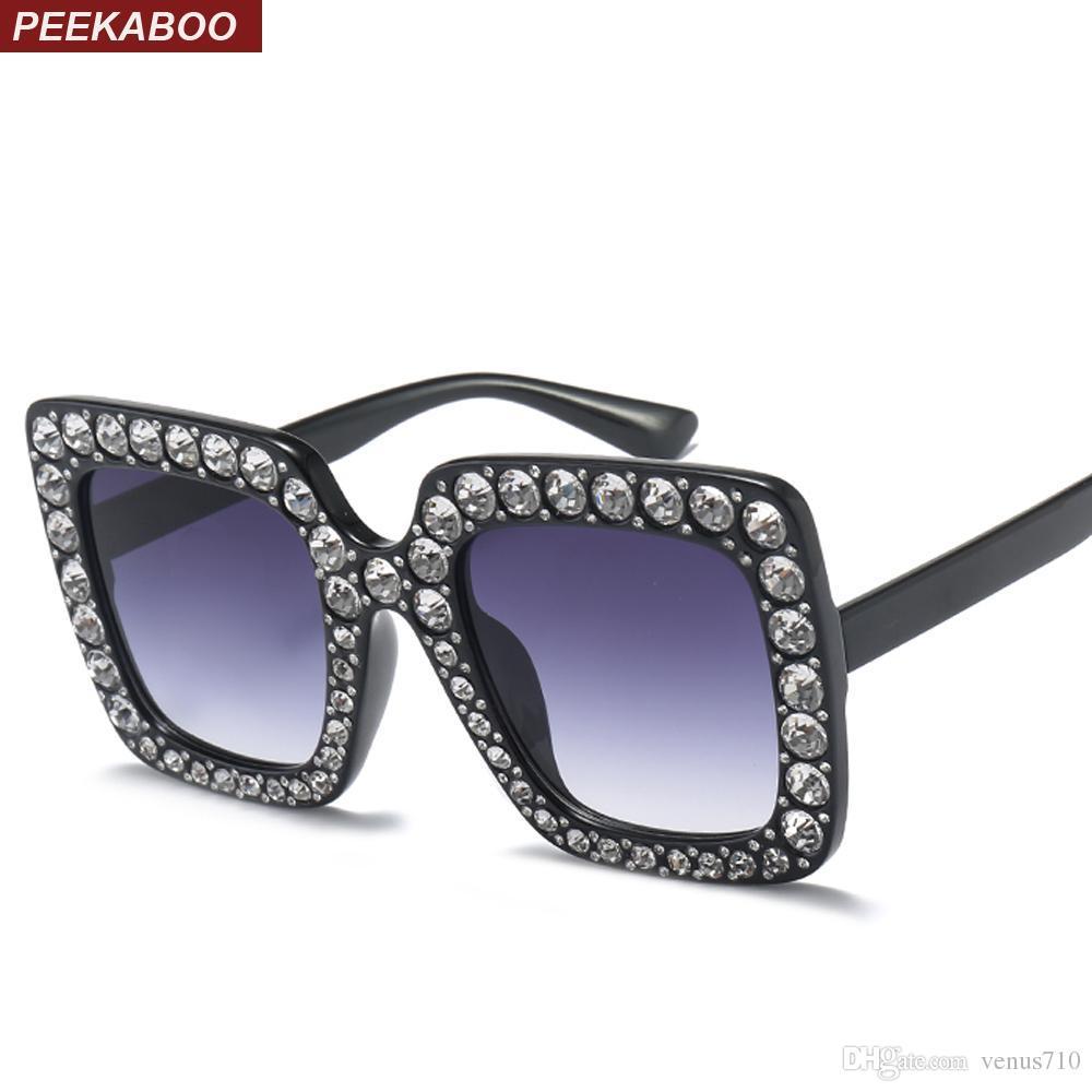 Compre Peekaboo Strass Óculos De Sol Para As Mulheres Marca De Luxo Preto  Rosa Oversized Óculos De Sol Moldura Quadrada Grande Uv400 De Venus710, ... 6a889783cf
