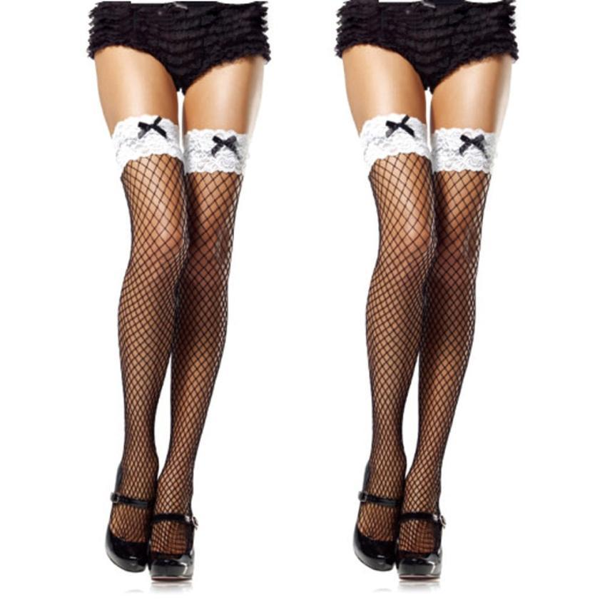 4a5c30cbc9f 2019 Bow Stripe Sexy Young Girl Sexy White Lace Fishnet Thigh High  Stockings Women Tights Medias Stockings Drop Medias Pantis From Zhusa