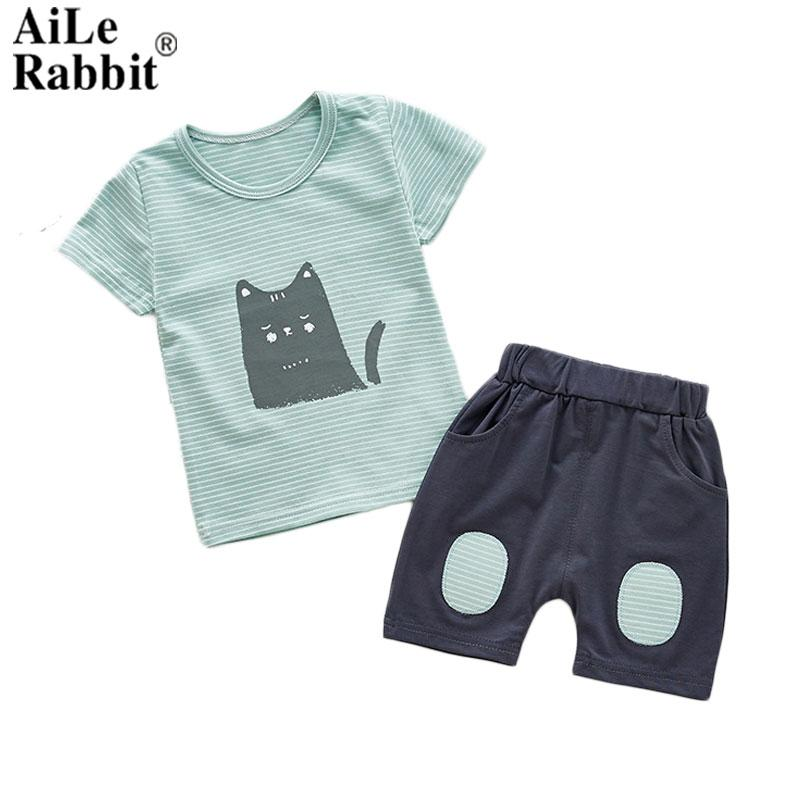 7f9fcd135 AiLe Rabbit Children's Baby Summer Boys and Girls Children's Short Sleeved  Two Piece Cotton Vest Suit Factory Direct Selling