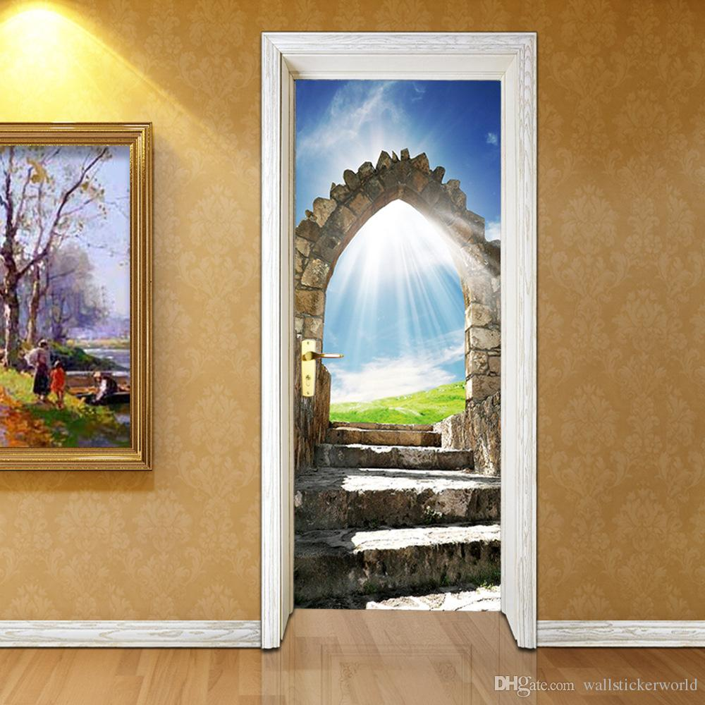 Wall Stickers DIY Mural Bedroom Home Decor Poster European Stone Staircase Door Stickers Wallpaper