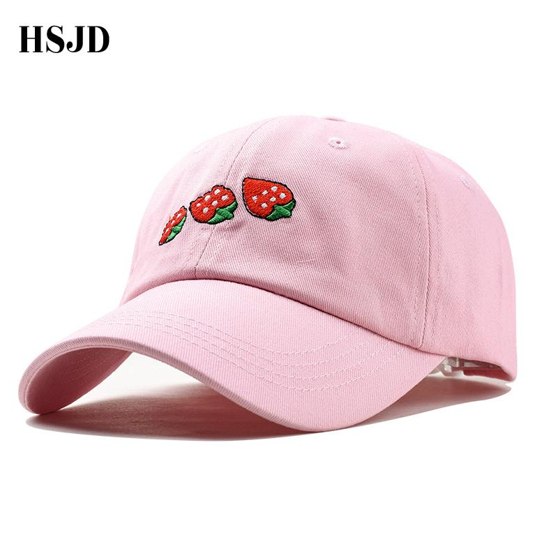 New 2018 Summer Leisure Fresh Fruit Embroidery Hat Strawberry Baseball Cap  For Women Adjustable Snapback Hat Cap For A Girl Kids Hats Ball Caps From  Duoyun 99a93d45617
