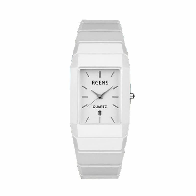 a045daaac426 Compre Mens Womens Relojes De Pulsera De Cuarzo A Prueba De Agua Lujo Blanco  Negro 100% Relojes Cuadrados De Cerámica Pareja Señoras Relojes Hombre  RGENS ...