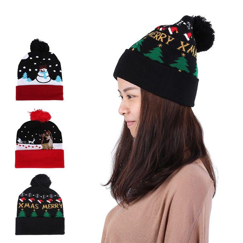Großhandel Led Weihnachten Häkeln Hut Beanie Casual Baumwolle Warme ...