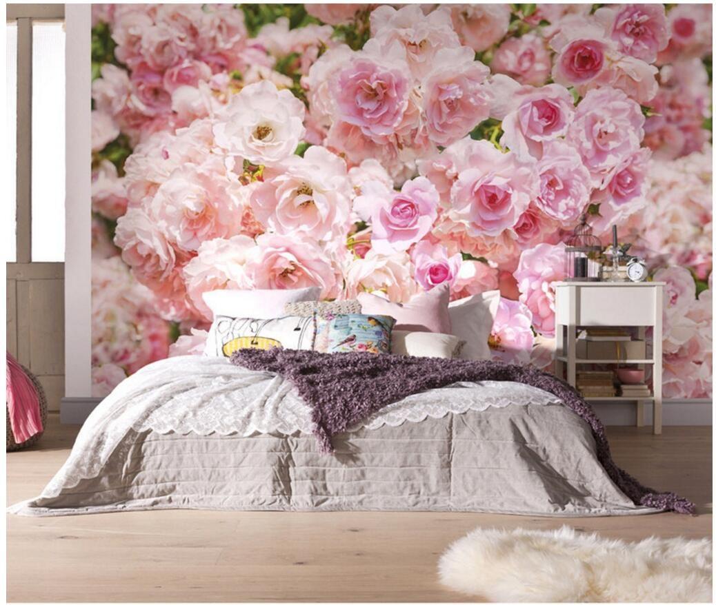 3d wallpaper custom photo mural Pink romantic flower cluster roses  background living room home decor 3d wall murals wallpaper for walls 3 d