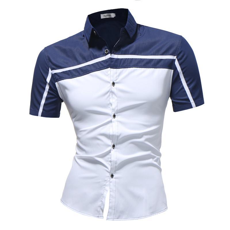 Compre nuevos camisas chemise hombres nuevo modelo slim fit jpg 800x800  Modelos de camisas masculina b4486073c8468