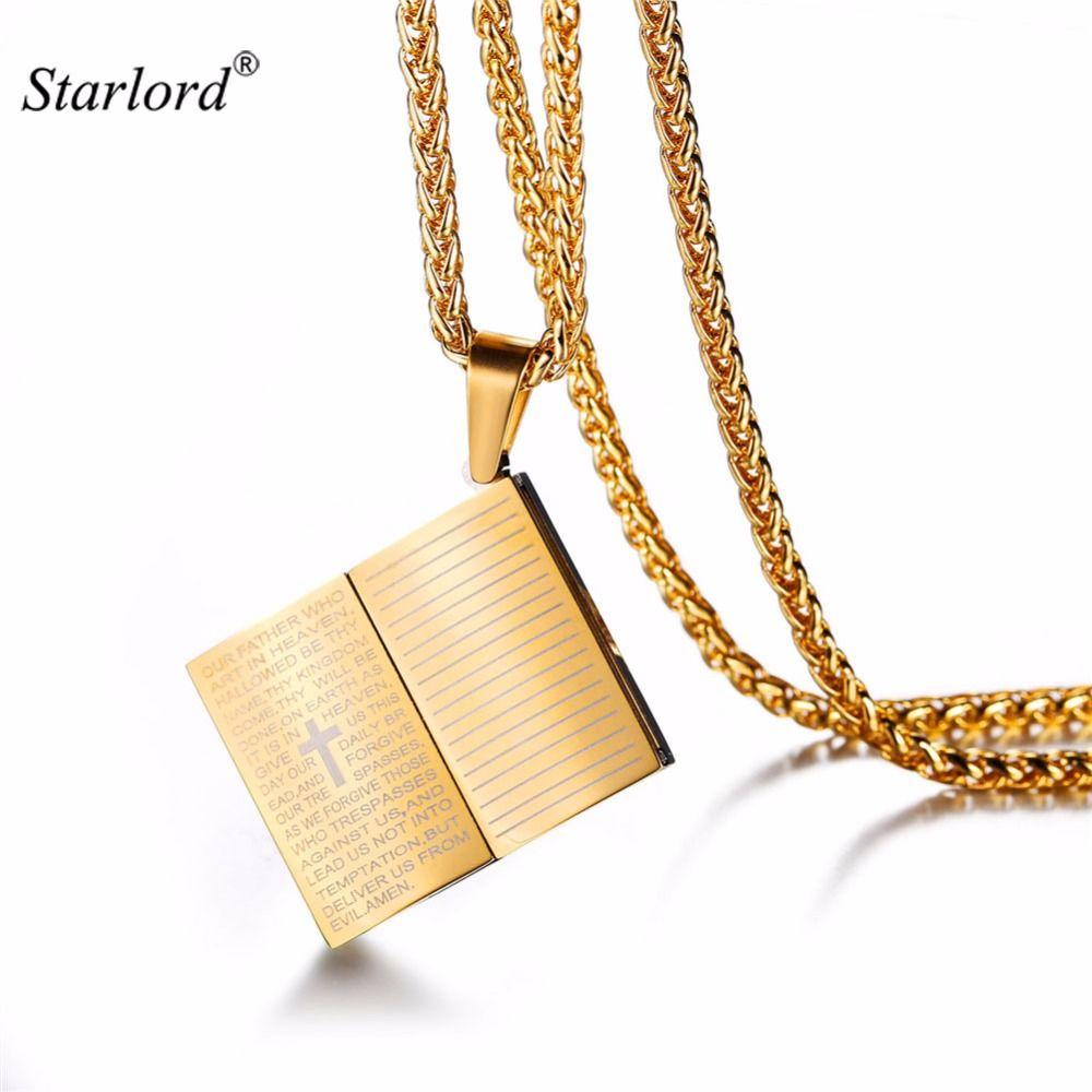 480493435d58 Compre Ashion Jewelry Necklace Starlord English Bible Verse Book Colgante  Collar Azul   Acero Inoxidable   Color Oro Cuerda Cadena Cruz Judío  Cristiano .