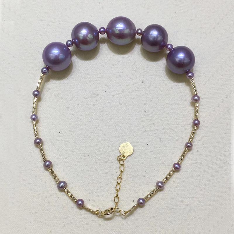 fb330ced2d3 2019 Sinya Au750 18k Gold Bangles With High Luster 10 11mm Edison Purple  Pearls Bracelet For Women Girls Mom Best Gift 2018 From Xiajishi, $208.9 |  DHgate.