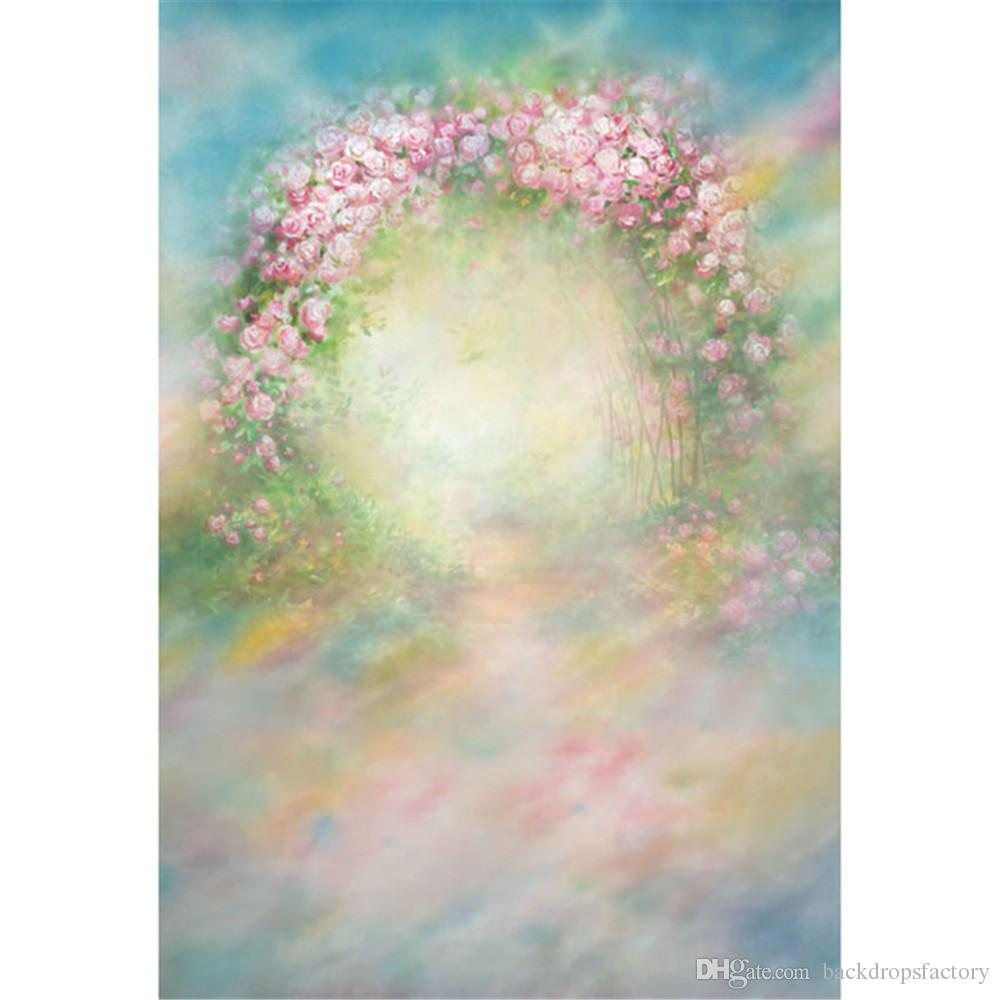 2018 Pastel Blue And Pink Watercolor Backdrop Painted Flowers