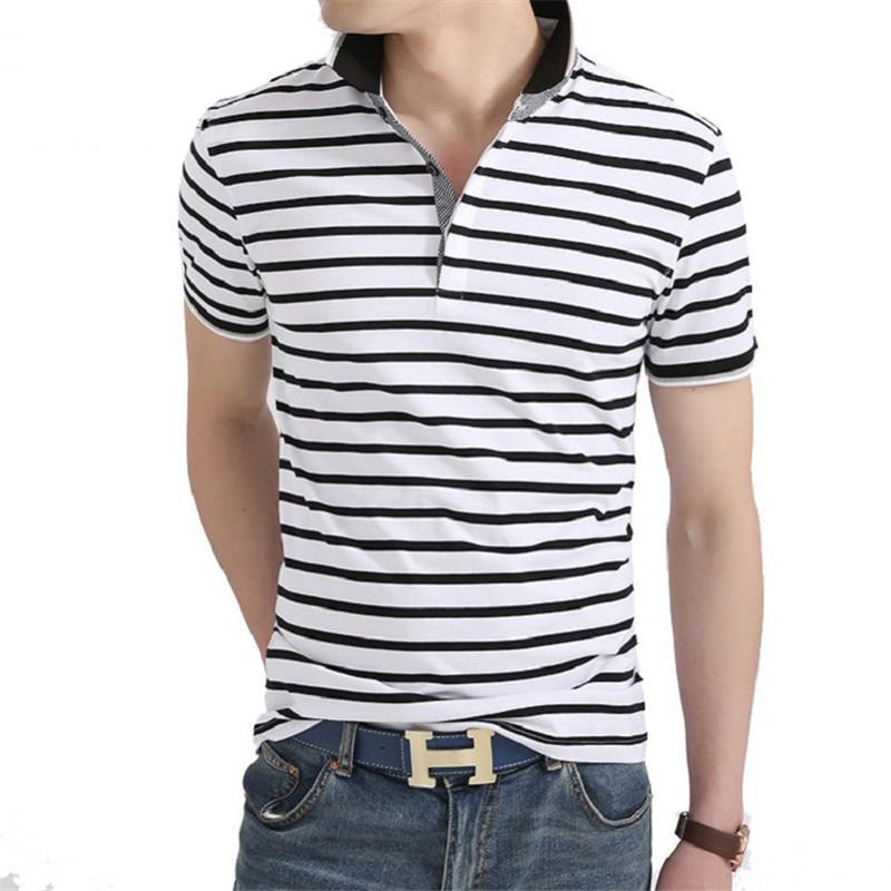 Compre Homens Pólo Camisa Dos Homens De Verão De Negócios Casuais  Respirável Listrado Branco Pólo De Manga Curta Camisa Pólo De Algodão  Roupas De Trabalho ... baa0bb2f91546