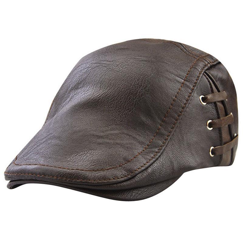 Compre Hombres Mayores Gorras Otoño Invierno Boinas Negro Marrón Protección  Sombreros Calientes Para Hombre Invierno PU Sombrero De Cuero Hombre A  Prueba De ... b06daa42cba